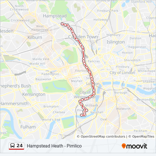 Pimlico London Map.24 Route Time Schedules Stops Maps Hampstead Heath