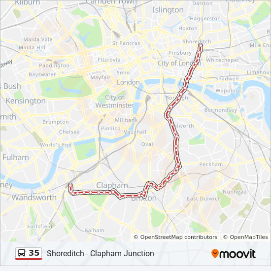 35 Route: Time Schedules, Stops & Maps - Clapham Junction