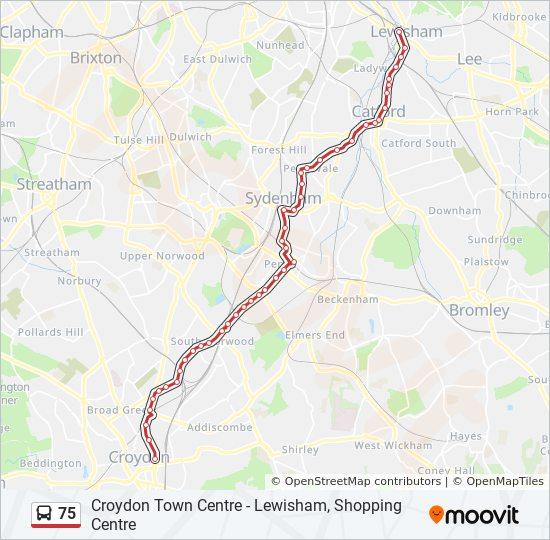 Centre London Map.75 Route Time Schedules Stops Maps Croydon Town Centre