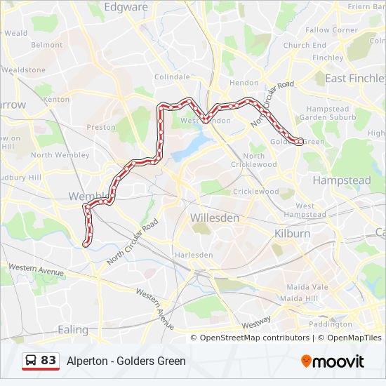 Golders Green Map 83 Route: Time Schedules, Stops & Maps   Golders Green