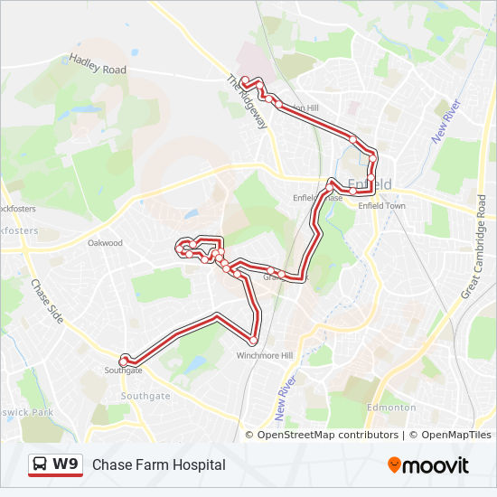 Chase Farm Hospital Map W9 Route: Time Schedules, Stops & Maps   Chase Farm Hospital