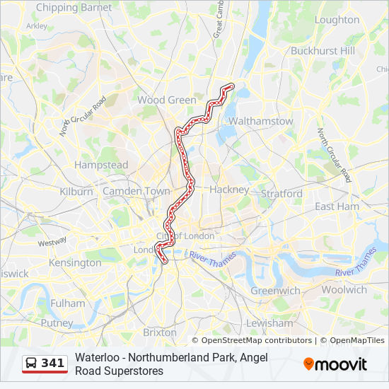 Angel London Map.341 Route Time Schedules Stops Maps Northumberland Park Angel