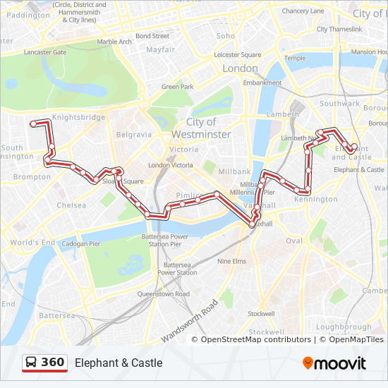 360 Route: Time Schedules, Stops & Maps - Royal Albert Hall