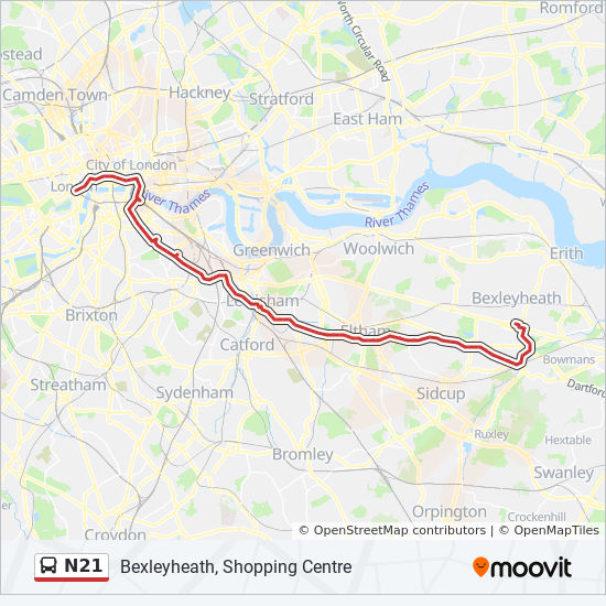 Where Is London Map.N21 Route Time Schedules Stops Maps Bexleyheath Shopping Centre