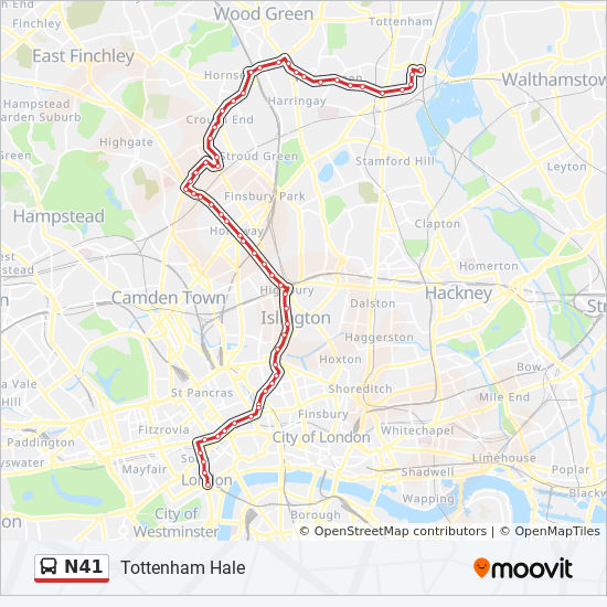 Tottenham London Map.N41 Route Time Schedules Stops Maps Tottenham Hale