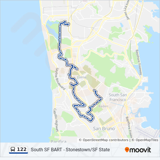 122 Route: Time Schedules, Stops & Maps