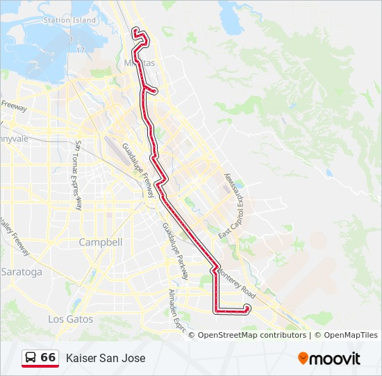 Kaiser San Jose Map 66 Route: Time Schedules, Stops & Maps   Kaiser San Jose