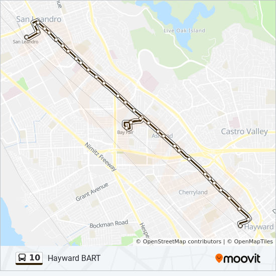 10 Route Time Schedules Stops Amp Maps San Leandro Bart