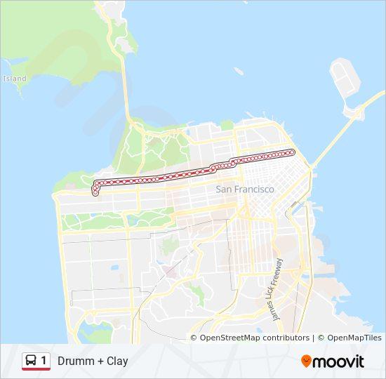 1 Route: Time Schedules, Stops & Maps - Drumm + Clay on sf bus schedule, sf train map, sf mta map, sf bar map, sf parking map, sf bus lines, sf walking map, sf bart map, sf art map, sf district map, san francisco map, sf metro map, sf tour map, sf bus tour, sf street map, sf airport map, sf cartoon map, sf hospital map, sf muni map,