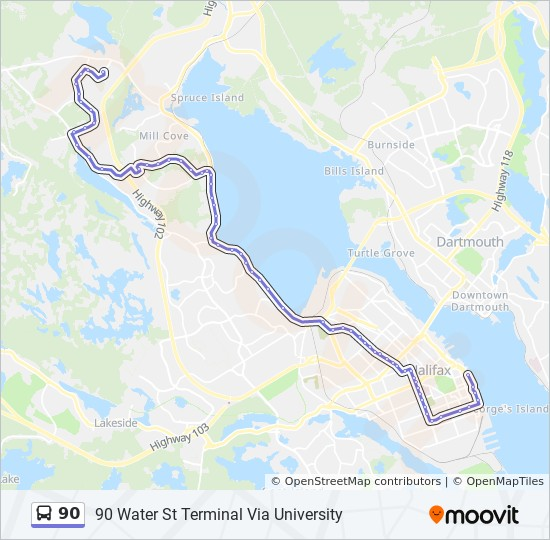 90 Route: Time Schedules, Stops & Maps