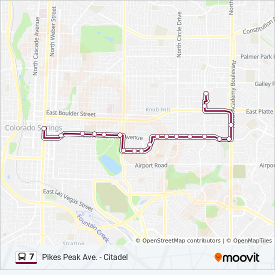 7 Route Time Schedules Stops Maps Citadel Core Stop Terminal - Pikes-peak-on-us-map