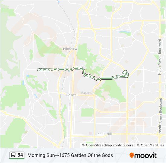 Garden Of The Gods Colorado Map.34 Route Time Schedules Stops Maps Morning Sun 1675 Garden