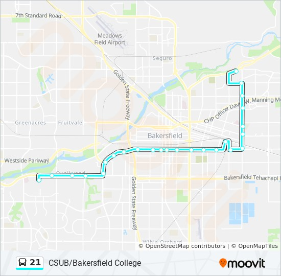 21 Route: Time Schedules, Stops & Maps - Bakersfield College on san francisco map, uc riverside map, cal state university map, uc santa cruz map, csu sacramento map, csu chico map,