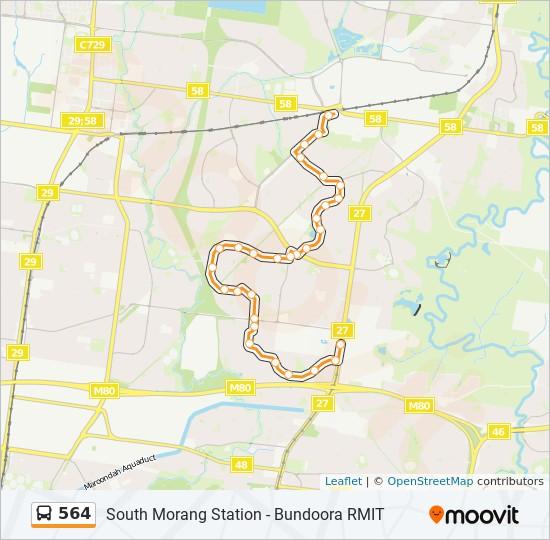 Rmit Bundoora Map 564 Route: Time Schedules, Stops & Maps   Bundoora Rmit