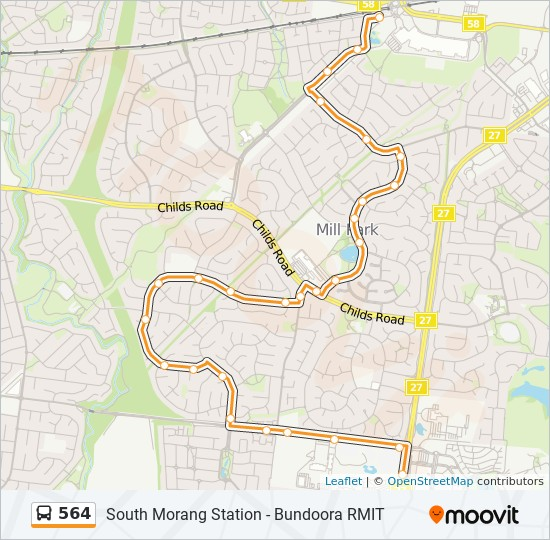 Rmit Bundoora Map 564 Route: Time Schedules, Stops & Maps   South Morang Station