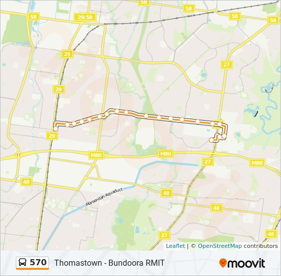 Rmit Bundoora Map 570 Route: Time Schedules, Stops & Maps   Bundoora Rmit