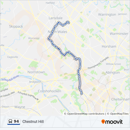94 Route: Time Schedules, Stops & Maps - Montgomery County ... on map of ephrata pa, map of abington pa, map of erie pa, map of kinzers pa, map of lower salford township pa, map of center valley pa, map of fogelsville pa, map of norristown pa, map of schuylkill river pa, map of glen lyon pa, map of yardley pa, map of klingerstown pa, map of langhorne pa, map of skippack pa, map of bethlehem pa, map of allentown pa, map of king of prussia pa, map of ford city pa, map of orefield pa, map of jenkintown pa,