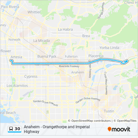 30 Route: Time Schedules, Stops & Maps - Cerritos Center