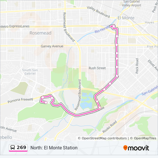 269 Route: Time Schedules, Stops & Maps - North: El Monte Station