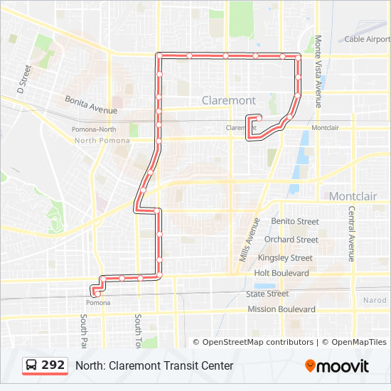 292 Route: Time Schedules, Stops & Maps - North: Claremont Transit on
