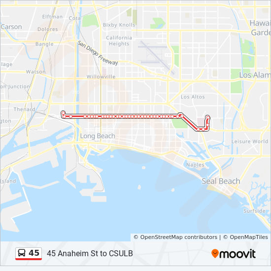 45 Route: Time Schedules, Stops & Maps - Pch