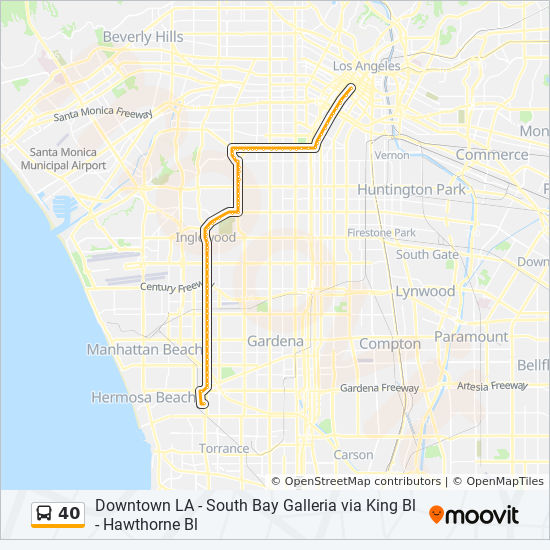40 Route Time Schedules Stops Amp Maps South Bay Galleria