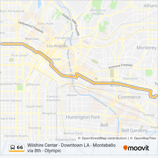 Los Angeles Subway Map Pdf.66 Route Time Schedules Stops Maps 8th Western