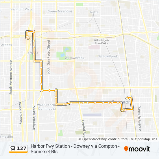 127 Route: Time Schedules, Stops & Maps - Compton Sta. on los angeles map, chualar map, gardena map, forrest park map, auberry map, long beach map, tyndall map, grimaldi map, 1000 palms map, cutler map, cedar ridge map, hope ranch map, california map, downieville map, crenshaw map, burbank studios map, angels camp map, la trade tech map, la county map, inglewood map,