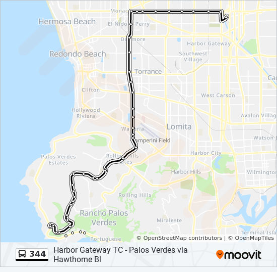 344 Route: Time Schedules, Stops & Maps - Rancho Palos Verdes