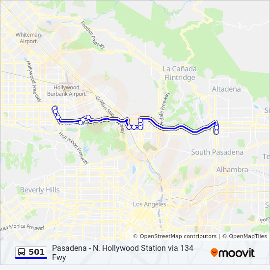 501 Route Time Schedules Stops Maps N Hllywd Via 134 Fwy