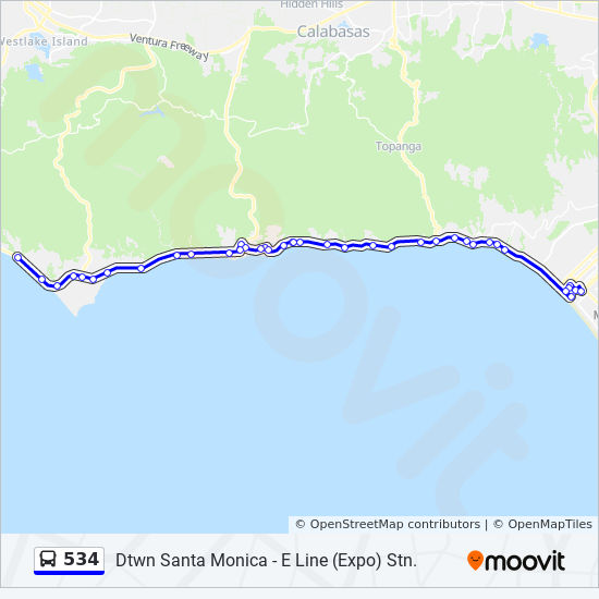534 Route Time Schedules Stops Amp Maps Malibu Pch