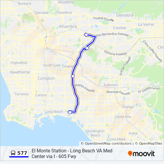 577 Route: Time Schedules, Stops & Maps - Cal State Lb / Va Medical on