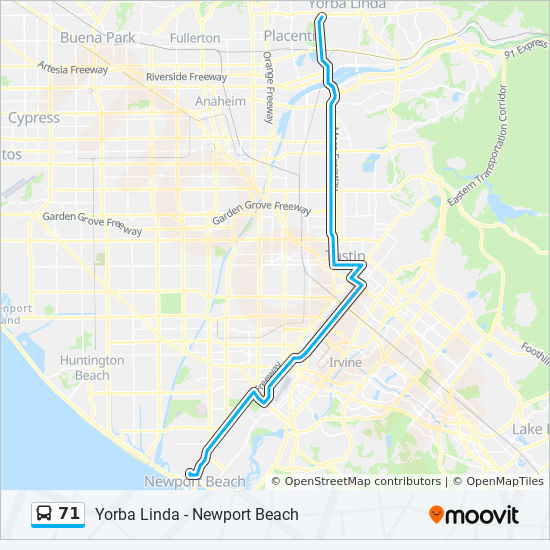 Where Is Yorba Linda California Map.71 Route Time Schedules Stops Maps Newport Beach Hoag Hospital