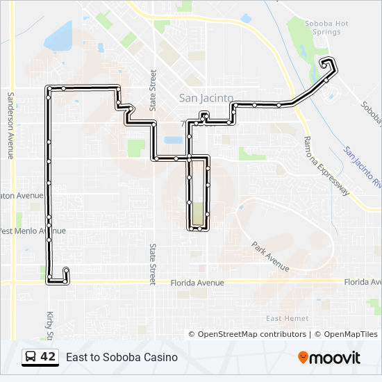 42 Route Time Schedules Stops Maps West To Hemet Valley Mall