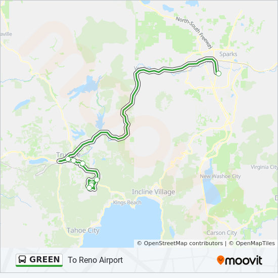 GREEN Route: Time Schedules, Stops & Maps - To Reno Airport on