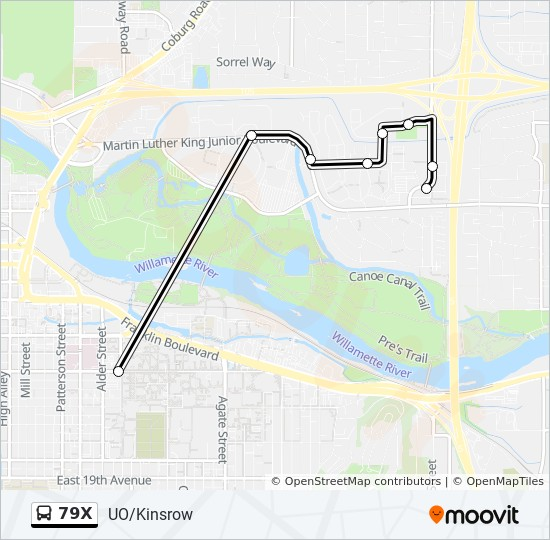 79x Route Time Schedules Stops Maps University Of Oregon