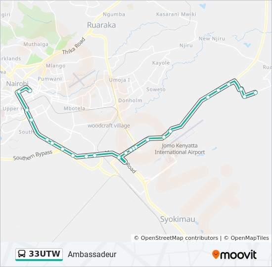 33UTW bus Line Map