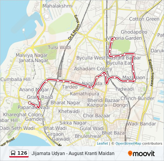126 Route: Time Schedules, Stops & Maps - Jijamata Udyan