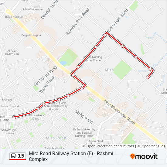 Mira Road Map 15 Route: Time Schedules, Stops & Maps   Mira Road Railway Station (E)