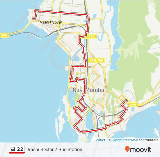 22 Route: Time Schedules, Stops & Maps - Vashi Sector 6 Bus