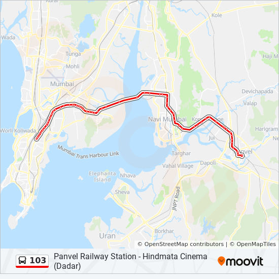103 Route: Time Schedules, Stops & Maps - Hindmata (Dadar)