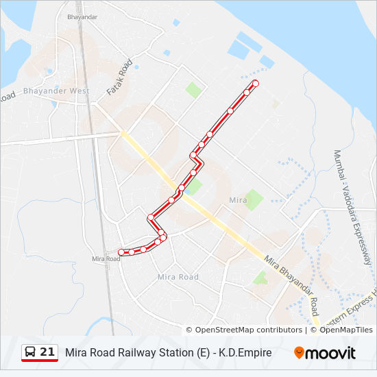 Mira Road Map 21 Route: Time Schedules, Stops & Maps   Mira Road Railway Station (E)