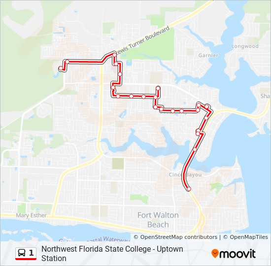 Northwest Florida Map.1 Route Time Schedules Stops Maps Northwest Florida State