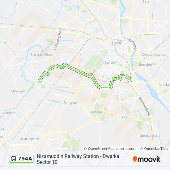 794A Route: Time Schedules, Stops & Maps - Dwarka Sector 10