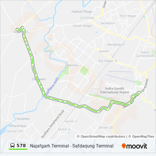 578 Route: Time Schedules, Stops & Maps - Najafgarh Terminal