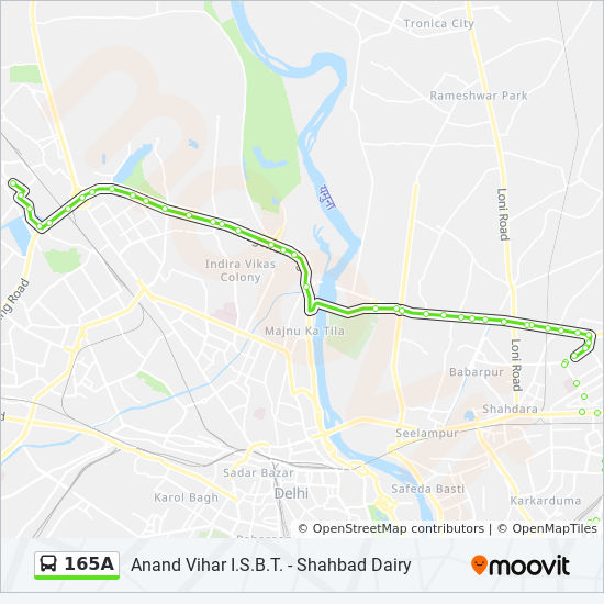 165A Route: Time Schedules, Stops & Maps - I S B T Anand Vihar