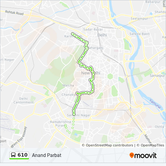 610 Route: Time Schedules, Stops & Maps - Wazirpur Bus Depot