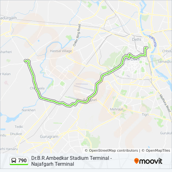 790 Route Time Schedules Stops Amp Maps Najafgarh Terminal
