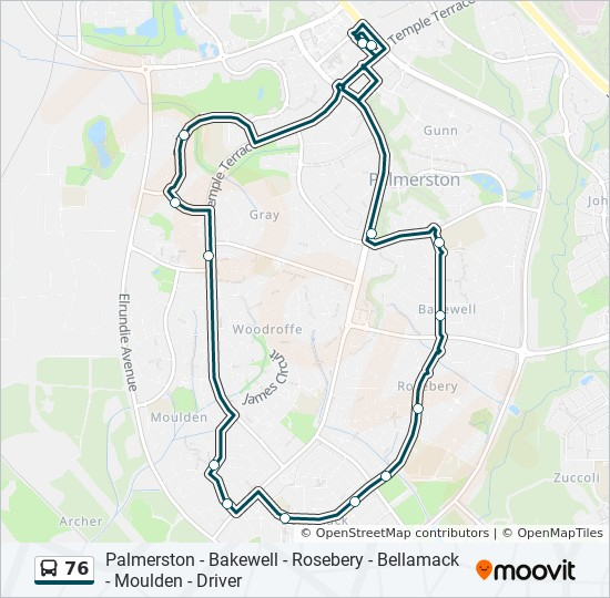 76 Route: Time Schedules, Stops & Maps - Bakewell Bellamack Moulden on