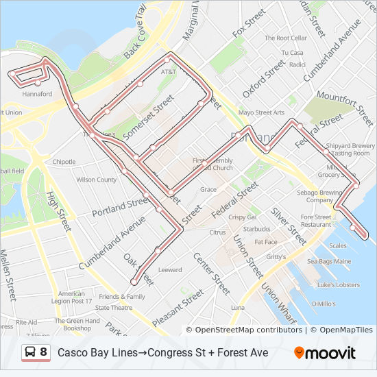 8 Route: Time Schedules, Stops & Maps - Maine Medical Center